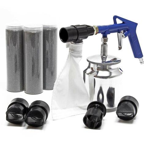 Ki Pistolet de sablage air comprimé Sableuse avec matériau et accessoires Gicleurs grenaille Atelier