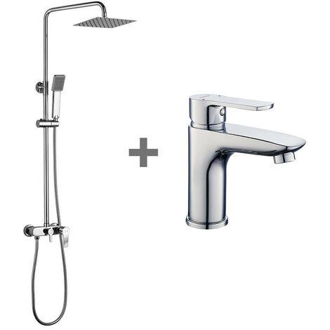 """main image of """"Kibath Conjunto Columna de ducha monomando más grifo de lavabo NAD, Tubo Extensible regulable en Altura de 80 a 120 cm. Frabricado en latón acabado cromo Brillo."""""""