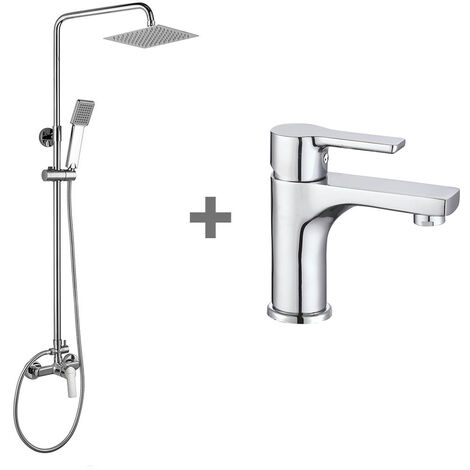 "main image of ""Kibath Conjunto Columna de ducha monomando más grifo de lavabo PIN, Tubo Extensible regulable en Altura de 80 a 120 cm. Frabricado en latón acabado cromo Brillo."""