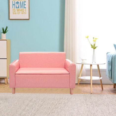 "main image of ""Kid Mini Storage Sofa Children Armchair Relax Chair Foam Seat Child Stool Settee Pink"""