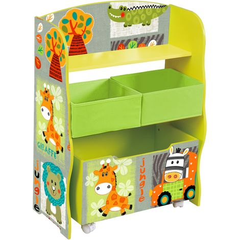 Kid Safari Storage Shelf With Toybox - Green Bins