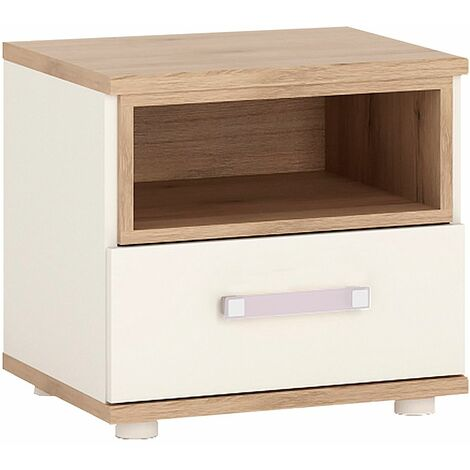 Kiddie 1 Drawer bedside Cabinet With Lilac Handles