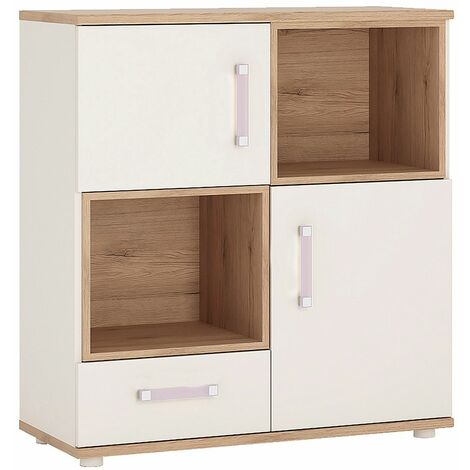 Kiddie 2 Door 1 Drawer Cabinet with 2 open shelves and Lilac Handles
