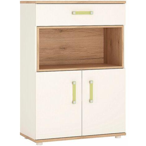 Kiddie 2 Door 1 Drawer Cabinet with open shelf and Lemon Handles