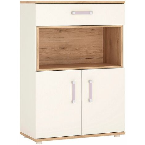 Kiddie 2 Door 1 Drawer Cabinet with open shelf and Lilac Handles