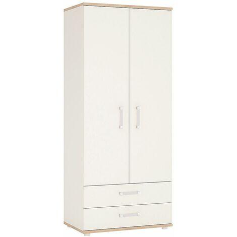 Kiddie Two Doors Two Drawer Bedroom Wardrobe Opalino Handles