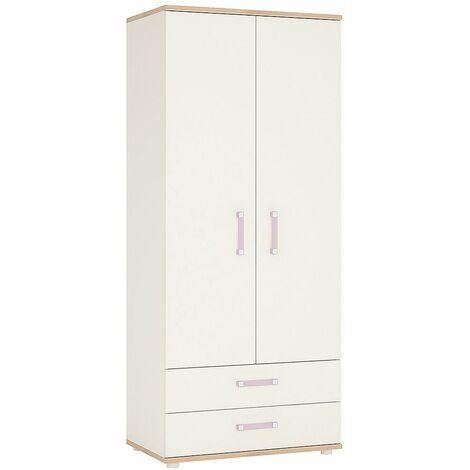 Kiddie Two Doors Two Drawers Bedroom Wardrobe Lilac Handles