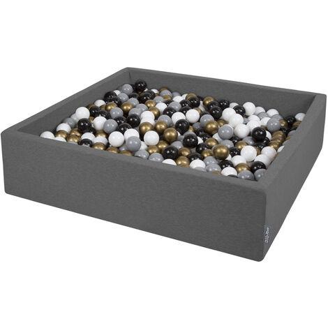 KiddyMoon 120X30cm/600 Balles ∅ 7Cm Carré Piscine À Balles Pour Bébé Fabriqué En UE