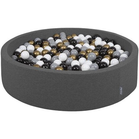 KiddyMoon 120X30cm/600 Balles ∅ 7Cm Piscine À Balles Pour Bébé Rond Fabriqué En UE