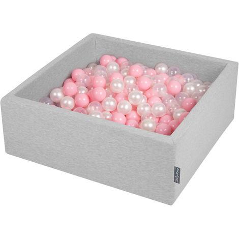 KiddyMoon 90X30cm/200 Balles ∅ 7Cm Carré Piscine À Balles Pour Bébé Fabriqué En UE