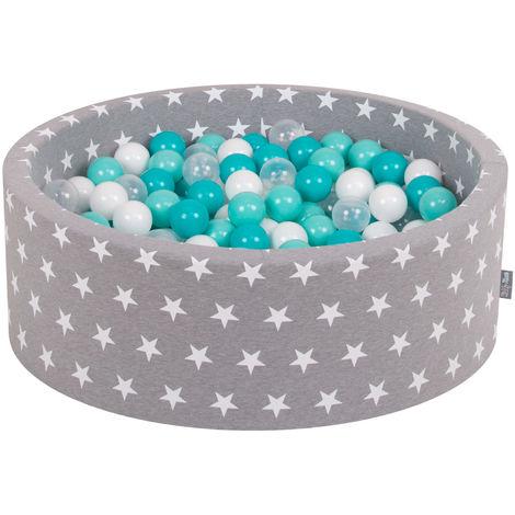 KiddyMoon 90X30cm/200 Balles ∅ 7Cm Piscine À Balles Pour Bébé Rond Fabriqué En UE, Étoiles