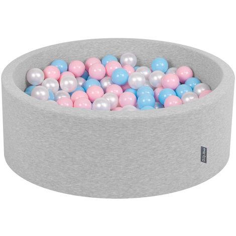 KiddyMoon 90X30cm/200 Balles ∅ 7Cm Piscine À Balles Pour Bébé Rond Fabriqué En UE, Gris Clair