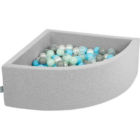 KiddyMoon 90X30cm/200 Balles Piscine À Balles ∅ 7Cm Pour Bébé Quart Angulaire Fabriqué En UE