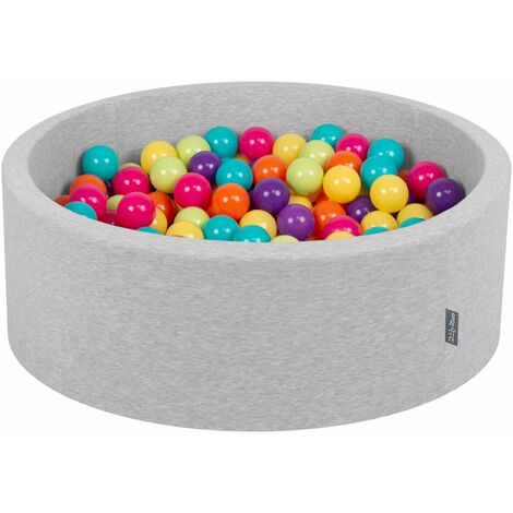 KiddyMoon 90X30cm/200 Bolas ∅ 7Cm Piscina De Bolas Para Ninos Hecha En La UE, Gris Clr:Perla/Gris/Azul