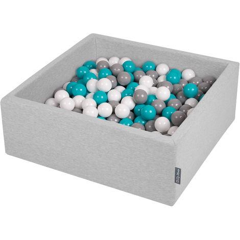KiddyMoon 90X30cm/300 Balles ∅ 7Cm Carré Piscine À Balles Pour Bébé Fabriqué En UE