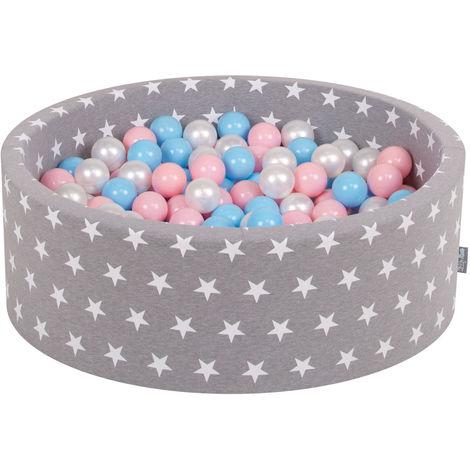 KiddyMoon 90X30cm/300 Balles ∅ 7Cm Piscine À Balles Pour Bébé Rond Fabriqué En UE, Étoiles