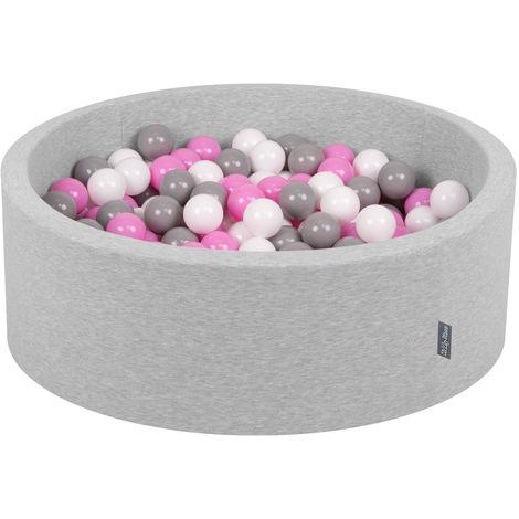 KiddyMoon 90X30cm/300 Balles ∅ 7Cm Piscine À Balles Pour Bébé Rond Fabriqué En UE, Gris Clair