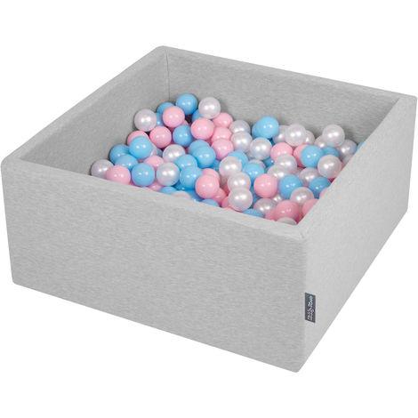 KiddyMoon 90X40cm/200 Balles ∅ 7Cm Carré Piscine À Balles Pour Bébé Fabriqué En UE