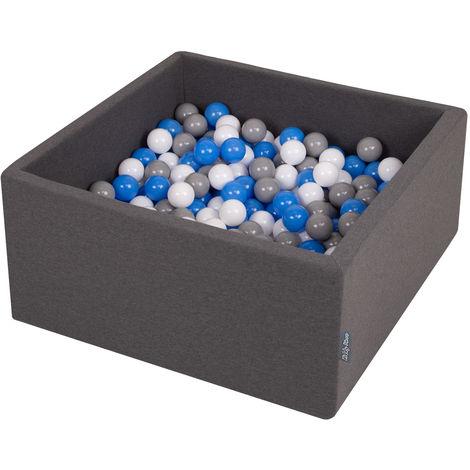 KiddyMoon 90X40cm/300 Balles ∅ 7Cm Carré Piscine À Balles Pour Bébé Fabriqué En UE