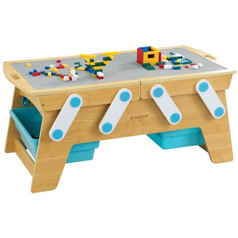 KidKraft Building Bricks Play N Store Table Natural