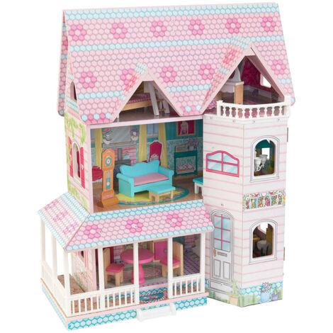 KidKraft Casa de muñecas de 3 pisos Abbey Manor 60,58x32,77x71,76 cm
