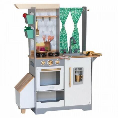 KIDKRAFT - Cuisine en bois pour enfant Terrace Garden avec accessoires, son & lumiere