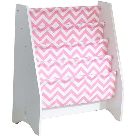 KidKraft Librería infantil de tela rosa y blanco 60,96x29,85x71,12 cm - Rosa