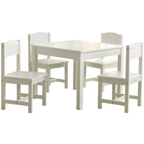 KidKraft Mesa para niños con 4 sillas de estilo rústico blanco - Bianco