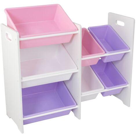 KidKraft Toy Storage Unit with 7 Bins Pastel and White 83.01 x 29.97 x 73.66 cm - Multicolour