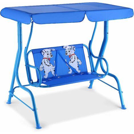 Kids 2-Seat Swing Chair Outdoor Hammock Seat w/ Safety Belt & Adjustable Canopy