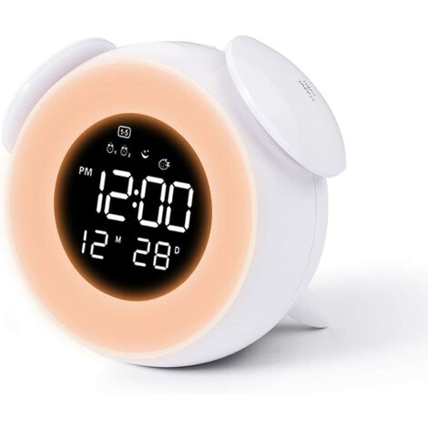 """main image of """"Kids Alarm Clock, Digital Girl Alarm Clock with Wake Up Light, Bedside Alarm Clock with 7 Colors / Snooze Touch Control / USB Charging (White)"""""""