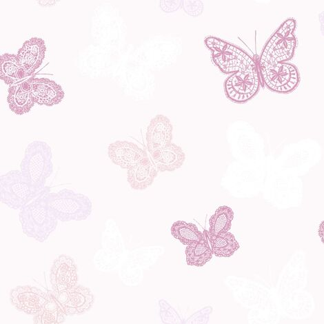 Kids at Home Wallpaper Butterfly Pink 100114