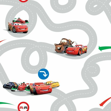 Kids at Home Wallpaper Cars Racetrack Multicolour DF72599