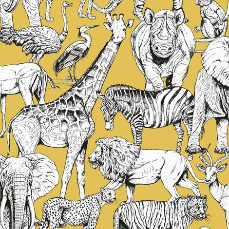 Kids at Home Wallpaper Jungle Animals Jaune Ochre