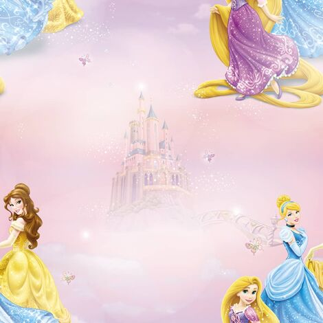 Kids at Home Wallpaper Pretty as A Princess Pink and Blue - Multicolour