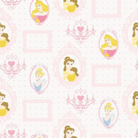 Kids at Home Wallpaper Princess Frames White and Pink - Multicolour
