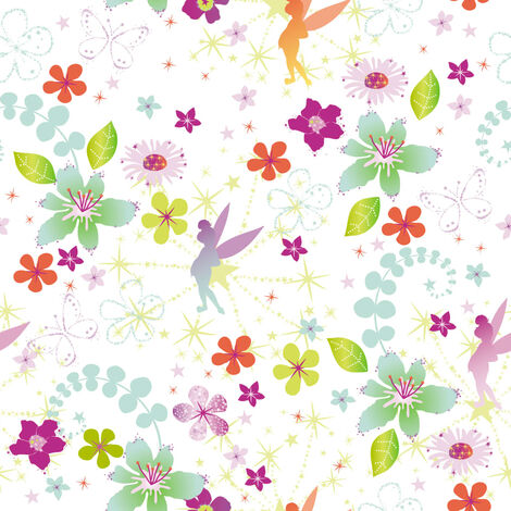 Kids at Home Wallpaper Tinkerbell Retro White and Pink