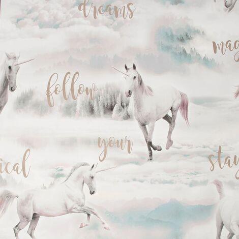 Kids at Home Wallpaper Unicorn Dreamland Grey