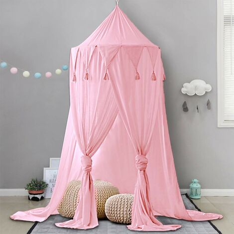"""main image of """"Kids Bed Canopy Canopy Baby Playroom Taking Pictures Around 240cm Height Hanging Chiffon Chiffon for Bedroom Decoration for Bed and Bedroom (Pink)"""""""