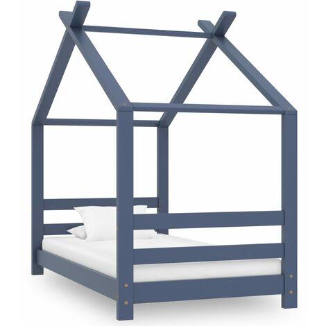 Kids Bed Frame Grey Solid Pine Wood 70x140 cm