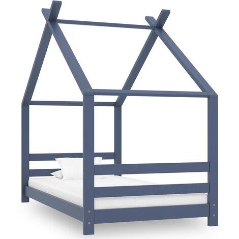Kids Bed Frame Grey Solid Pine Wood 80x160 cm
