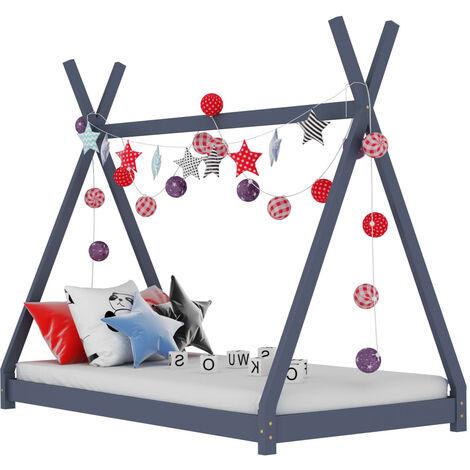 Kids Bed Frame Grey Solid Pine Wood 90x200 cm