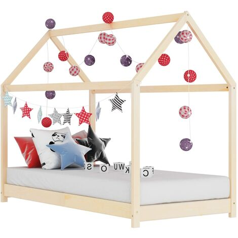 """main image of """"Kids Bed Frame Solid Pine Wood 70x140 cm - Brown"""""""