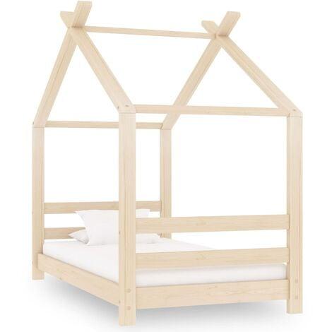 Kids Bed Frame Solid Pine Wood 70x140 cm - Brown