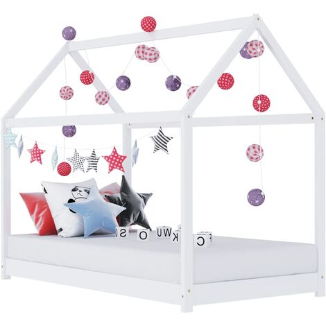 """main image of """"Kids Bed Frame White Solid Pine Wood 70x140 cm - White"""""""