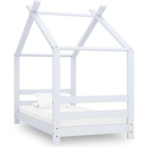 Kids Bed Frame White Solid Pine Wood 70x140 cm - White