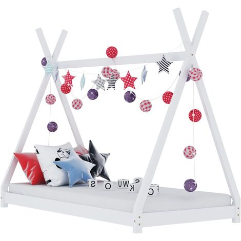 """main image of """"Kids Bed Frame White Solid Pine Wood 70x140 cm16068-Serial number"""""""