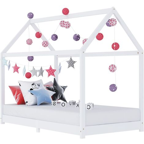 Kids Bed Frame White Solid Pine Wood 90x200 cm - White