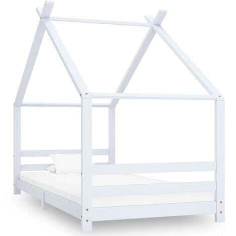 Kids Bed Frame White Solid Pine Wood 90x200 cm - White