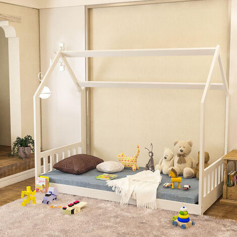 Kids Bed Single House Frame Children Toddler Bedroom Boys Girls